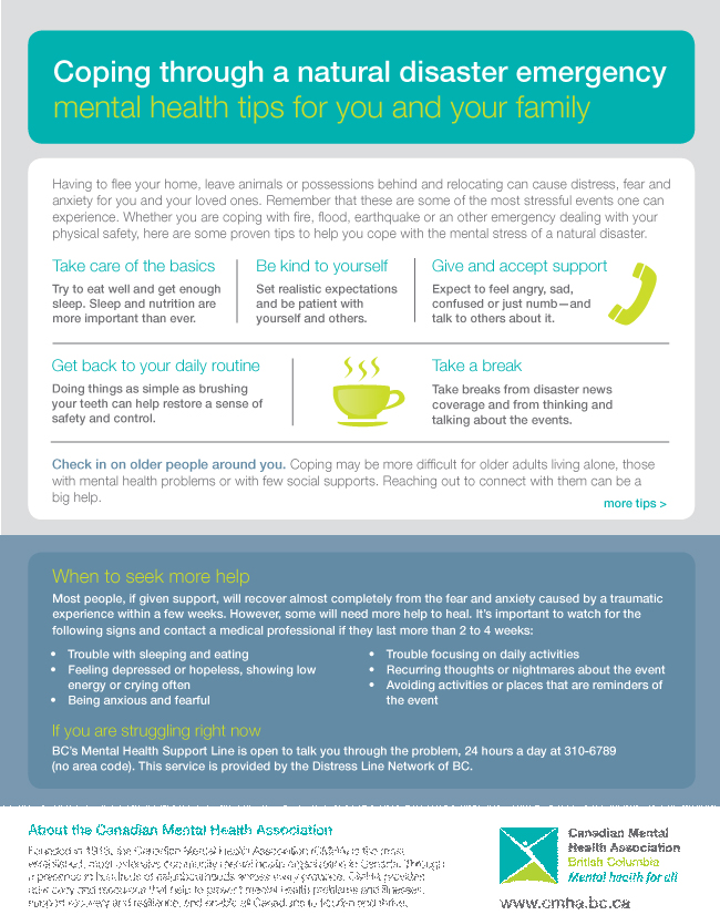 Coping through a natural disaster emergency - mental health tips for you and your family